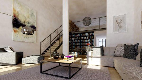 Innenansicht Wohnszimmer von unten