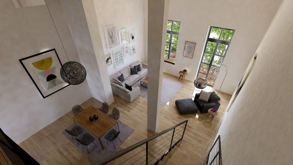 Innenansicht Wohnszimmer von oben