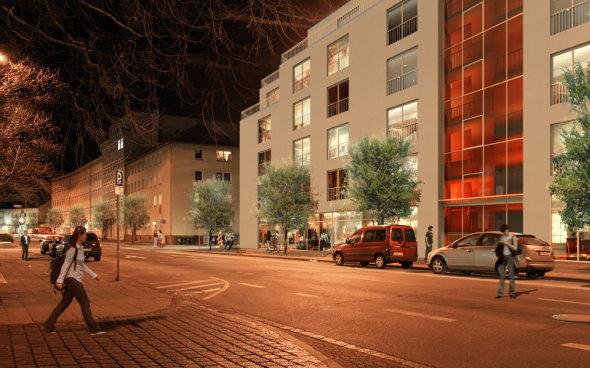 Außenansicht Gebäude bei Nacht